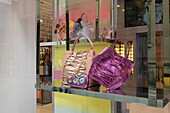 Handbags in a shopwindow, Via Montenapoleone, Golden Triangle, Milan, Lombardy, Italy