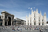 Piazza del Duomo with Milan Cathedral and Galleria Vittorio Emanuele II, Milan, Lombardy, Italy