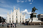 Piazza del Duomo with equestrian statue and Milan Cathedral, Milan, Lombardy, Italy