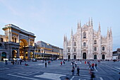Piazza del Duomo with Milan Cathedral and Galleria Vittorio Emanuele II in the evening, Milan, Lombardy, Italy