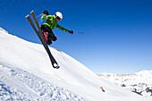 Skier jumping, Lavoz, Lenzerheide, Canton of Graubuenden, Switzerland