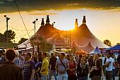 Sunset and people at the ZMF, Zeltmusikfestival 2013, Freiburg im Breisgau, Black Forest, Baden-Würtemberg, Germany