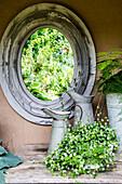 Garden still life with antique mirror and milk jugs, Freiamt, Emmendingen, Baden-Wuerttemberg, Germany