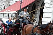 Fiaker and horse-drawn carriage on Michaelerplatz, Vienna, Austria