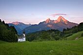 Maria Gern pilgrimage church, view to Watzmann in the morning light, Berchtesgaden region, Berchtesgaden National Park, Upper Bavaria, Germany