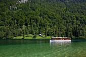Excursion boat, at Koenigssee, Berchtesgaden region, Berchtesgaden National Park, Upper Bavaria, Germany