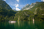 Excursion boat at Koenigssee, Berchtesgaden region, Berchtesgaden National Park, Upper Bavaria, Germany