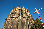Apse of the cathedral with touristic information sign, Cologne, Rhine river, North Rhine-Westphalia, Germany