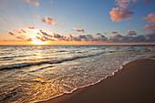 Sunrise at the beach, Ahlbeck, Usedom island, Baltic Sea, Mecklenburg Western-Pomerania, Germany