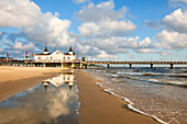 Pier reflecting in the water, Ahlbeck, Usedom island, Baltic Sea, Mecklenburg Western-Pomerania, Germany