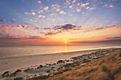 Sunrise at the beach, Ellenbogen peninsula, Sylt island, North Sea, North Friesland, Schleswig-Holstein, Germany