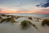 Sunset at the beach, Ellenbogen peninsula, Sylt island, North Sea, North Friesland, Schleswig-Holstein, Germany