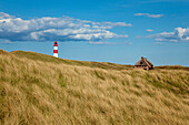 List Ost lighthouse and frisian house with thatched roof, Ellenbogen peninsula, Sylt island, North Sea, North Friesland, Schleswig-Holstein, Germany