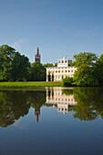 Kirchturm St. Petri und Schloss, Wörlitz, UNESCO Welterbe Gartenreich Dessau-Wörlitz, Sachsen-Anhalt, Deutschland