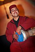 Moroccan musician, Dar Les Cigognes, Marrakech, Morocco