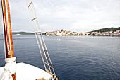 View from a sailboat to a seaport, Hvar, Dalmatia, Croatia
