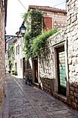 Small alley in the seaport, Hvar, Dalmatia, Croatia