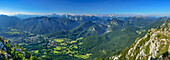 Panoramic view from mount Hochstaufen over valley of Bad Reichenhall and mountain scenery, Chiemgau, Upper Bavaria, Bavaria, Germany