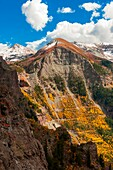 View of switchbacks on Black Bear Pass seen from Imogene Pass, above Telluride, San Juan Mountains, southwest Colorado USA
