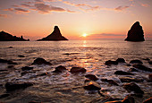 Sunrise at Aci Trezza with the Cyclops Rocks Isole dei Cyclopi clearly visible, Sicily, Italy