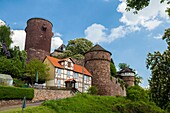 The picturesque Trendelburg Rapunzel´s castle on the German Fairy Tale Route, Trendelburg, Hesse, Germany, Europe