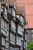Detail of timbered houses in Hannoversch Muenden on the German Fairy Tale Route, Lower Saxony, Germany, Europe