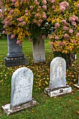 Graves in the historic cemetry in Stowe, Vermont, USA
