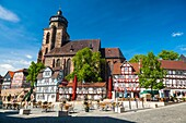 St. Marien church and traditional houses at the market square in Homberg Efze on the German Fairy Tale Route, Hesse, Germany, Europe