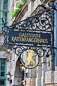 Beautiful adorned sign of the Rattenfaengerhaus in Hamelin on the German Fairy Tale Route, Lower Saxony, Germany, Europe
