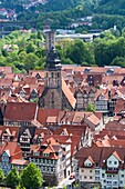 Overview of the picturesque town of Hannoversch Muenden on the German Fairy Tale Route, Lower Saxony, Germany, Europe