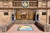 One of the tiled Province Alcoves along the walls of The Plaza de Espana, Spain Square, The Maria Luisa Park,Parque de Maria Luisa, Seville, Sevilla, Andalusia, Spain