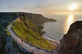 British Crown dependency, Isle of Sark, La Coupee at sunset