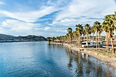 An RV campground on the shore of the Colorado River in Laughlin, Nevada, with sunshine and palm trees in winter