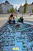 City mock-up at the Prešeren square, Ljubljana, Slovenia