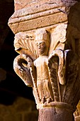 Capital in the Romanesque cloister of the monastery of Santa Maria - L´Estany - Bages - Barcelona - Catalonia - Spain - Europe