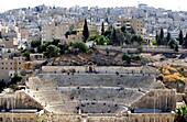 Amman, Jordan  The Roman Theatre was built during the reign of Antonius Pius 138-161 CE  The large and steeply raked structure could seat about 6,000 people: built into the hillside, it was oriented north to keep the sun off the spectators  It was divided