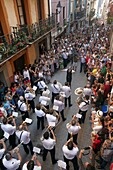 Band of music before the feast of the Bulls in Zestoa, Zestoa, Cestona, Gipuzkoa, Guipuzcoa, Basque Country, Spain