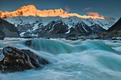 Mt Sefton at dawn, outflow river from Mueller Lake, Aoraki Mount Cook National Park, Canterbury