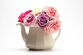 White Teapot with Roses