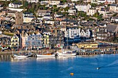 Dartmouth waterfront view from Kingswear, South Devon, England, United Kingdom, Europe