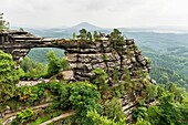 The Pravcicka brana German: Prebischtor is located in the Elbe Sandstone Mountains in the Bohemian Switzerland The narrow rock formation is the largest natural sandstone arch in Europe, Czech Republic, Europe, No Property Release available!