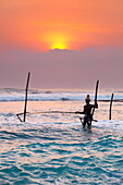 Sri Lanka - fisherman catches fish in a traditional way, Koggala Beach at sunset time, south part of Sri Lanka, Indian Ocean coast, Asia