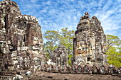 Stone faces of Bayon Temple, Angkor Thom, Cambodia, Asia