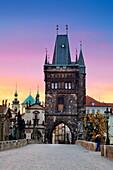 Prague - Old Town at sunset time, Bridge Tower and Charles Bridge, Prague, Czech Republic, Unesco