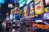 Advertising in Times Square in New York for Broadway plays and musicals