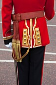 Uniform detail of a Member of the Scots Guard at Buckingham Palace, London England, UK