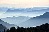 View to the south from Sonnenalp under Kampenwand, Chiemgau, Upper Bavaria, Bavaria, Germany