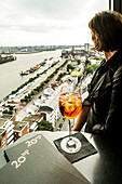 Bar 20up at the Empire Riverside Hotel at the Reeperbahn Hamburg with view to the harbour, Hamburg, Germany