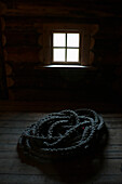 Pile of Braided Rope on Farmhouse Floor