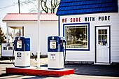 Old-Fashioned Refurbished Retro Gas Station Pumps
